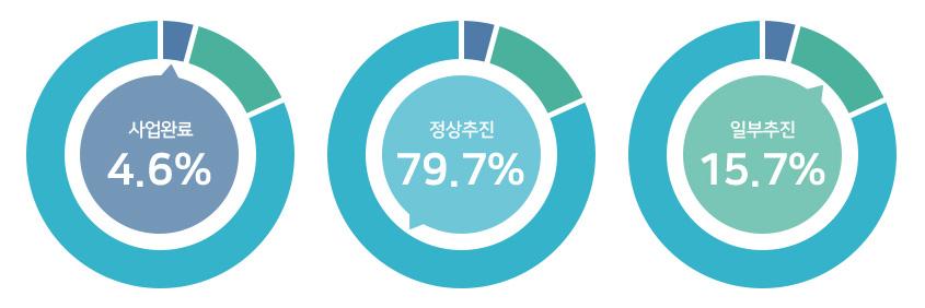 사업완료 4.6%, 정상추진 79.7%, 일부추진 15.7%.