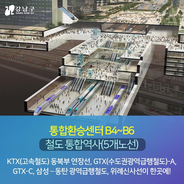 통합환승센터 B4~B6 : 철도 통합역사(5개노선) - KTX(고속철도) 동북부 연장선, GTX(수도권광역급행철도)-A, GTX-C, 삼성∼동탄 광역급행철도, 위례신사선이 한곳에!