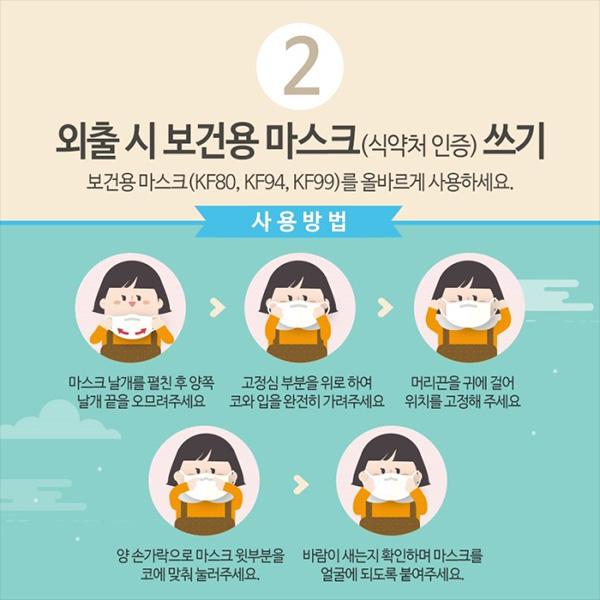 2. 외출시 보건용 마스크 쓰기, 보건용 마스크를 올바르게 사용하세요.