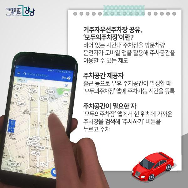 거주자우선주차장 공유, '모두의주차장'이란? 비어 있는 시간대 주차장을 방문차량 운전자가 모바일 앱을 활용해 주차공간을 이용할 수 있는 제도