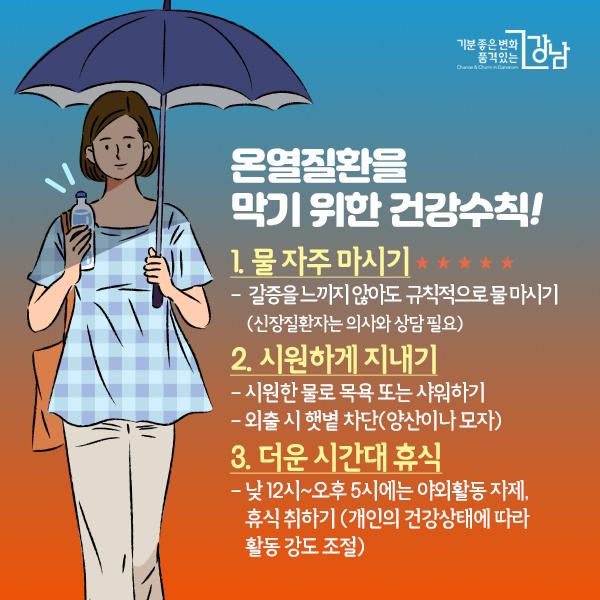 온열질환을 막기 위한 건강수칙  1. 물 자주 마시기★★★ - 갈증을 느끼지 않아도 규칙적으로 물 마시기(신장질환자는 의사와 상담 필요) 2. 시원하게 지내기 - 시원한 물로 목욕 또는 샤워하기 - 외출 시 햇볕 차단(양산이나 모자) 3. 더운 시간대 휴식 - 낮 12시~오후 5시에는 야외활동 자제, 휴식 취하기(개인의 건강상태에 따라 활동 강도 조절)