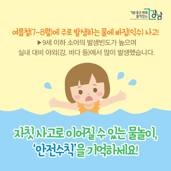 여름철(7~8월)에 주로 발생하는 물에 빠짐(익수) 사고!  ▶9세 이하 소아의 발생빈도가 높으며 실내 대비 야외(강, 바다 등)에서 많이 발생했습니다.  자칫 사고로 이어질 수 있는 물놀이, '안전수칙'을 기억하세요!
