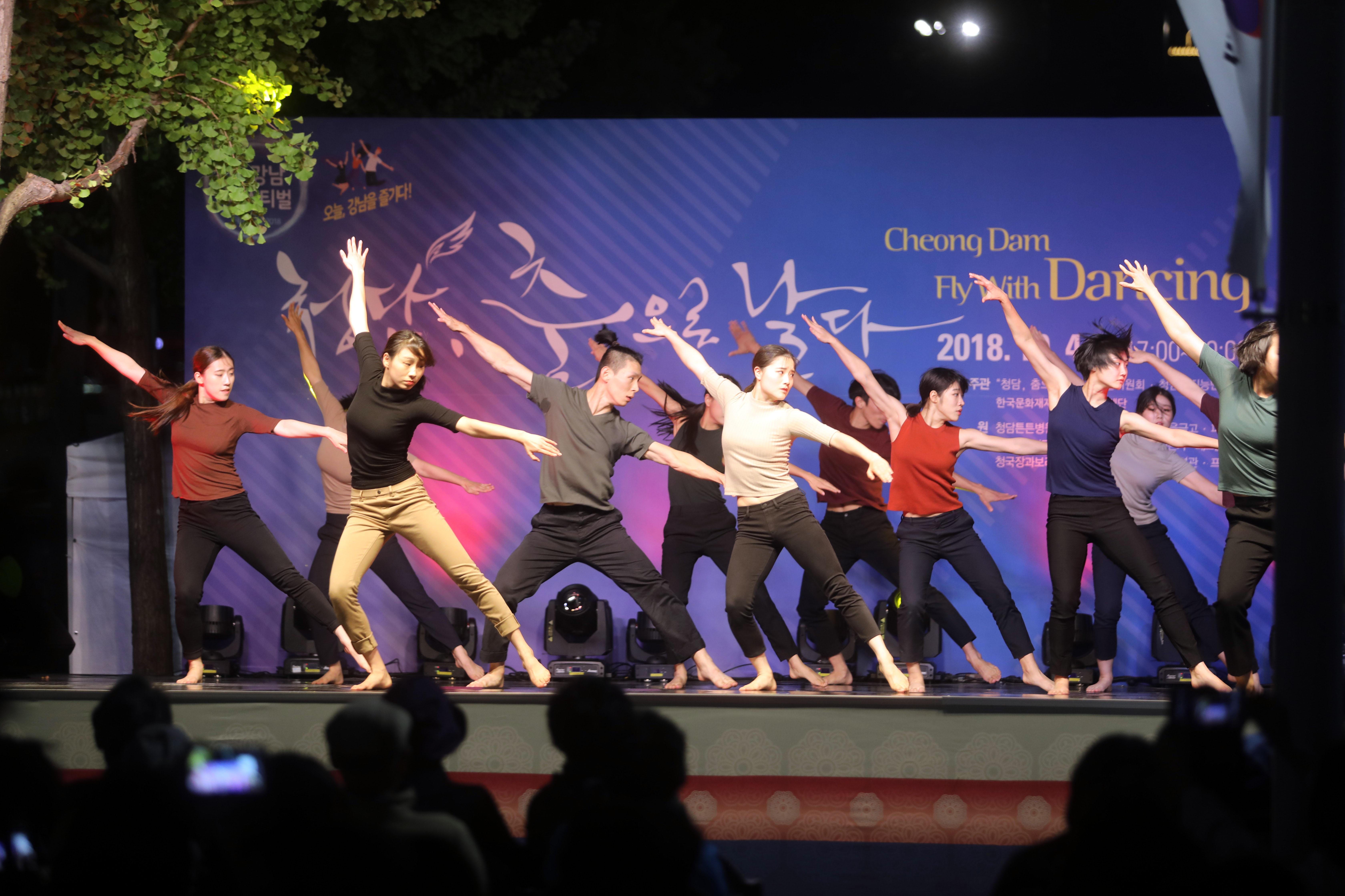 지난해 10월 3일 청담동 튼튼병원 앞에서 펼쳐진 청담, 춤으로 날다