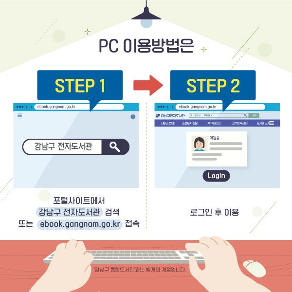 PC 이용방법은포털사이트에서 '강남구 전자도서관'을 검색하거나 ebook.gangnam.go.kr 접속한 뒤 로그인 후 이용합니다.※ '강남구 통합도서관'과는 별개의 계정입니다.