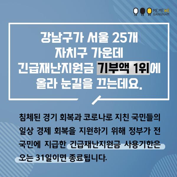 강남구가 서울 25개 자치구 가운데  긴급재난지원금 기부액 1위에 올라 눈길을 끄는데요.  침체된 경기 회복과 코로나로 지친 국민들의 일상 경제 회복을 지원하기 위해  정부가 전 국민에 지급한 긴급재난지원금 사용기한은 오는 31일이면 종료됩니다.