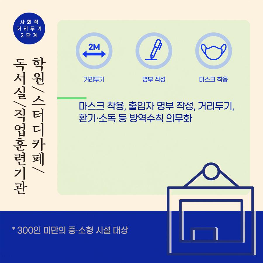 사회적 거리두기 2단계 학원/스터디카페/ 독서실/직업훈련기관 방역 수칙