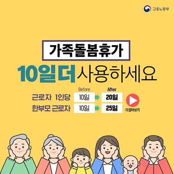 [카드뉴스] 가족돌봄휴가 10일 더 사용하세요!