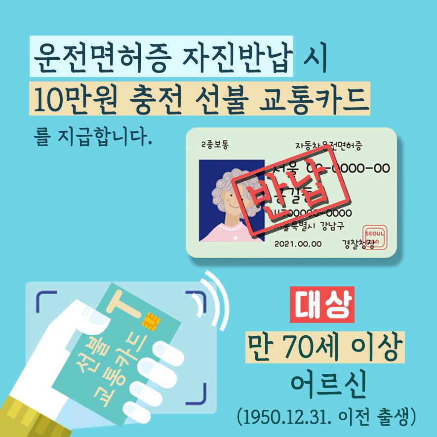 운전면허증 자진 반납 시 10만원 충전 선불 교통카드를 지급합니다. 대상: 만 70세 이상 어르신(1950.12.31.이전 출생)