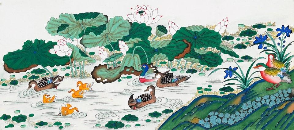 황성자作 - 어해도, 연화도, 일월오봉도, 화병도, 황룡도