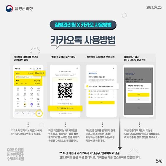 ◆ 질병관리청 X 카카오 사용방법 카카오톡 더보기탭 상단의 OR체크인 클릭 - 카카오톡 앱의 더보기탭(…)에서 상단의 QR체크인을 누릅니다.