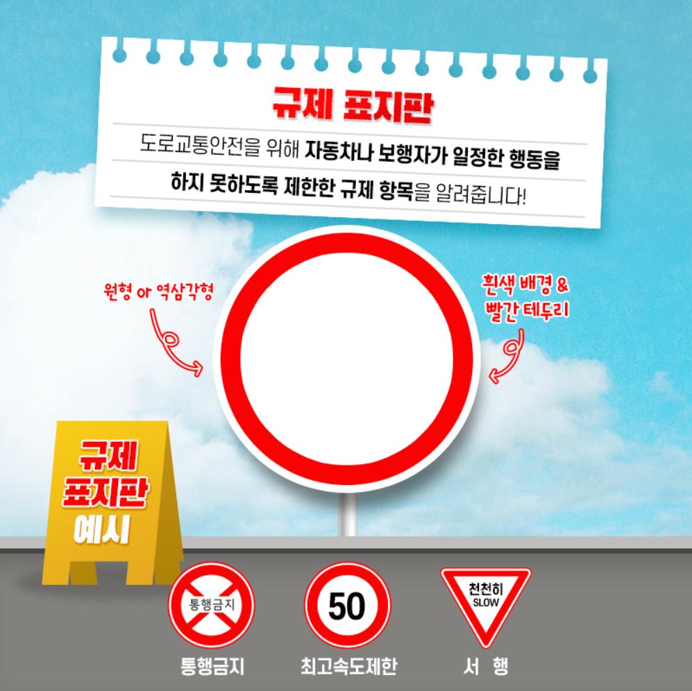 규제 표지판 : 도로교통안전을 위해 자동차나 보행자가 일정한 행동을 하지 못하도록 제한한 규제 항목을 알려줍니다! 원형 또는 역삼각형에 흰색 배경에 빨간 테두리가 특징입니다. 통행금지, 최고속도제한, 서행 관련 지시를 내려줍니다.